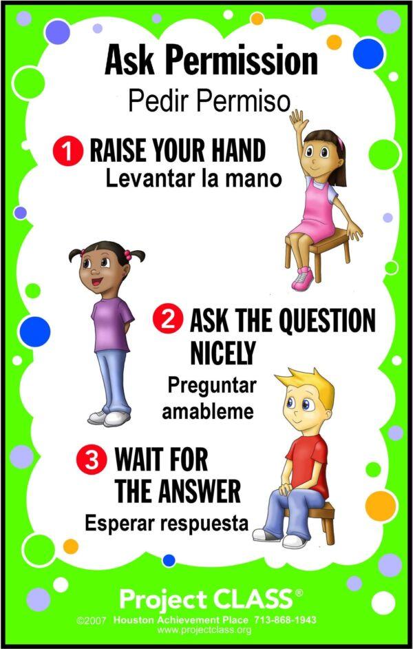 Ask Permission Poster English & Spanish