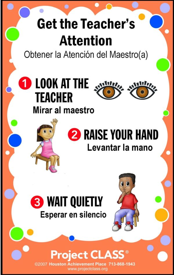 Get the Teacher's Attention Poster English & Spanish